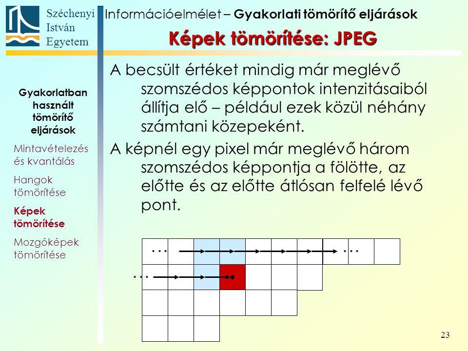 Széchenyi István Egyetem 23 A becsült értéket mindig már meglévő szomszédos képpontok intenzitásaiból állítja elő – például ezek közül néhány számtani közepeként.