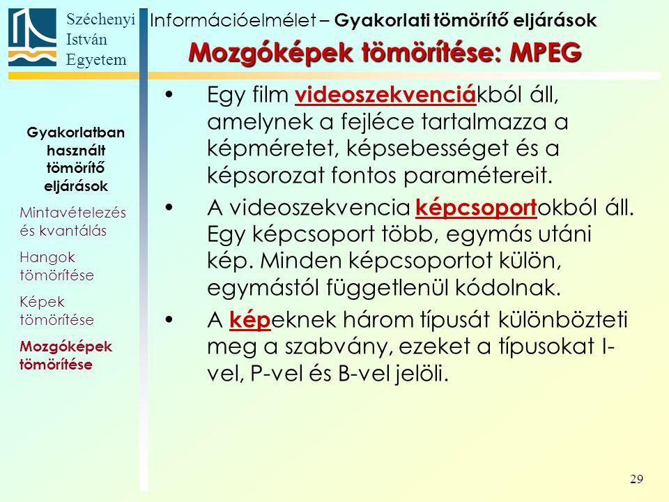 Széchenyi István Egyetem 29 Egy film videoszekvenciá kból áll, amelynek a fejléce tartalmazza a képméretet, képsebességet és a képsorozat fontos paramétereit.