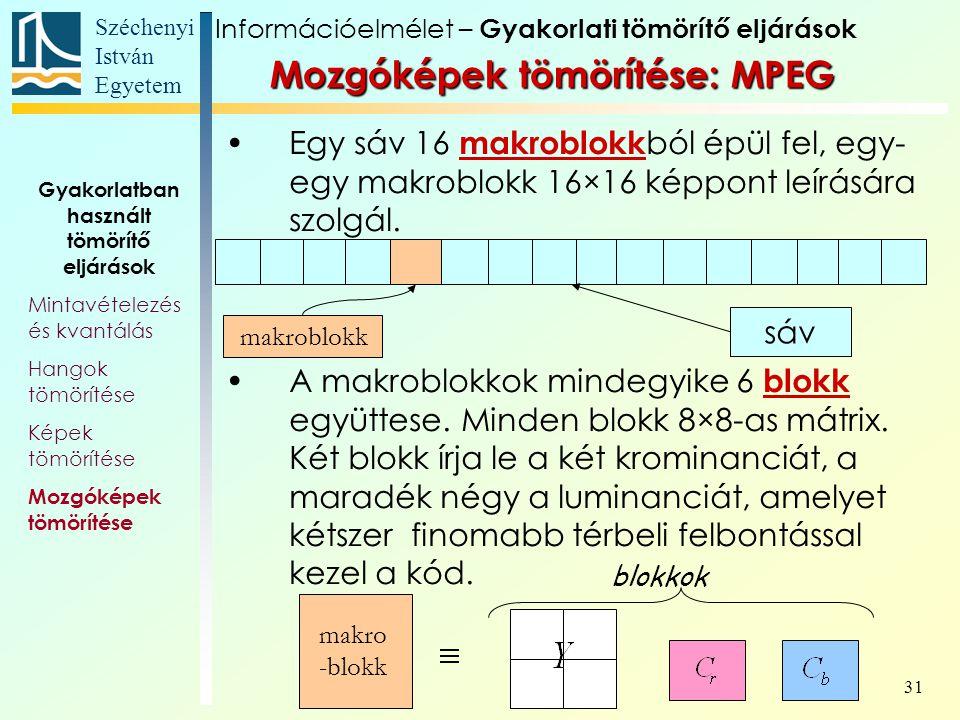 Széchenyi István Egyetem 31 Mozgóképek tömörítése: MPEG Egy sáv 16 makroblokk ból épül fel, egy- egy makroblokk 16×16 képpont leírására szolgál.