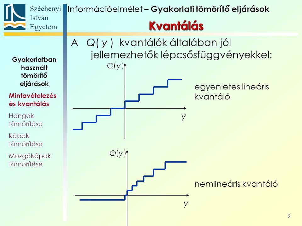 Széchenyi István Egyetem 9 A Q( y ) kvantálók általában jól jellemezhetők lépcsősfüggvényekkel: Kvantálás egyenletes lineáris kvantáló nemlineáris kvantáló Gyakorlatban használt tömörítő eljárások Mintavételezés és kvantálás Hangok tömörítése Képek tömörítése Mozgóképek tömörítése Információelmélet – Gyakorlati tömörítő eljárások