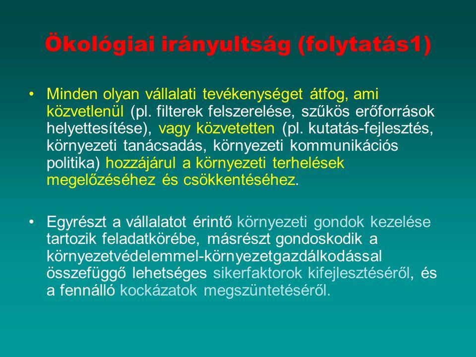 Ökológiai irányultság (folytatás1) Minden olyan vállalati tevékenységet átfog, ami közvetlenül (pl.