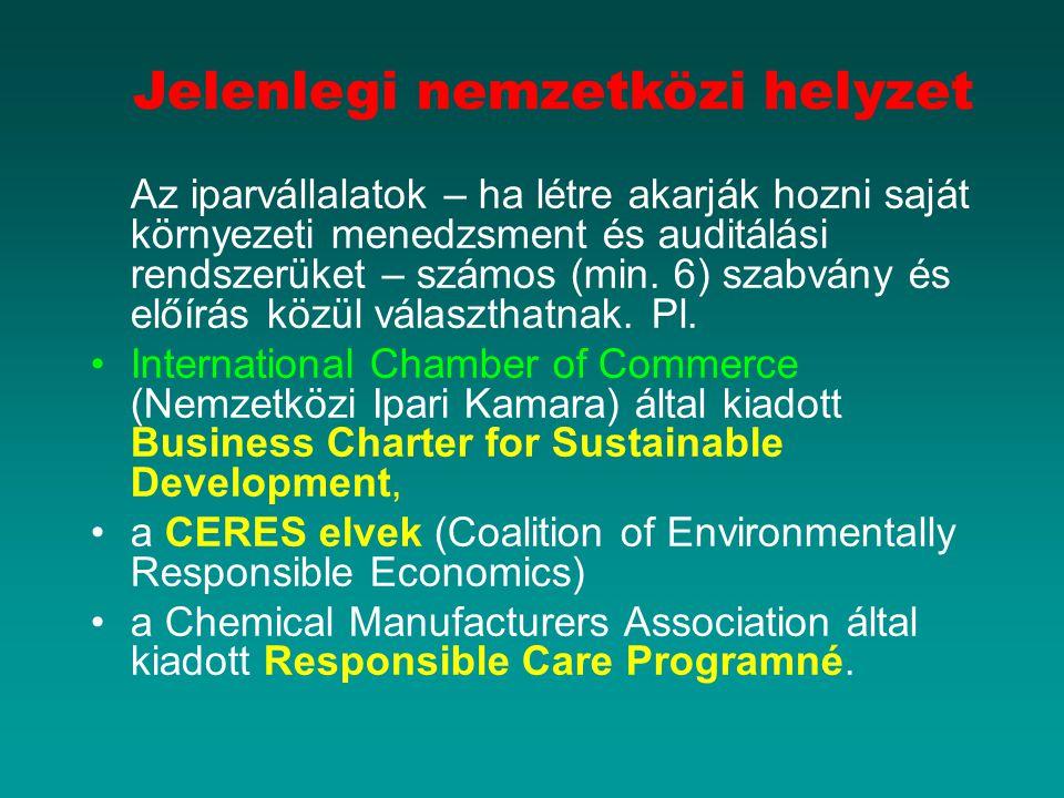 Jelenlegi nemzetközi helyzet Az iparvállalatok – ha létre akarják hozni saját környezeti menedzsment és auditálási rendszerüket – számos (min.