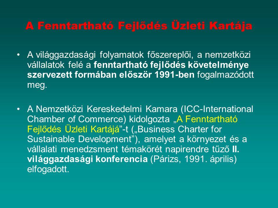 A Fenntartható Fejlődés Üzleti Kartája A világgazdasági folyamatok főszereplői, a nemzetközi vállalatok felé a fenntartható fejlődés követelménye szervezett formában először 1991-ben fogalmazódott meg.