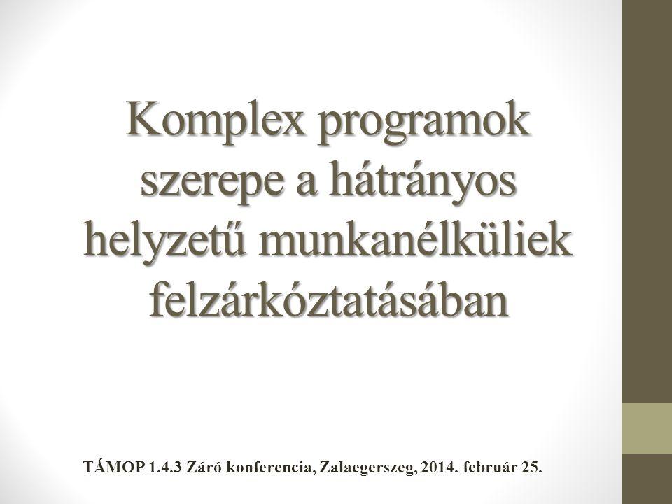 Komplex programok szerepe a hátrányos helyzetű munkanélküliek felzárkóztatásában TÁMOP 1.4.3 Záró konferencia, Zalaegerszeg, 2014. február 25.