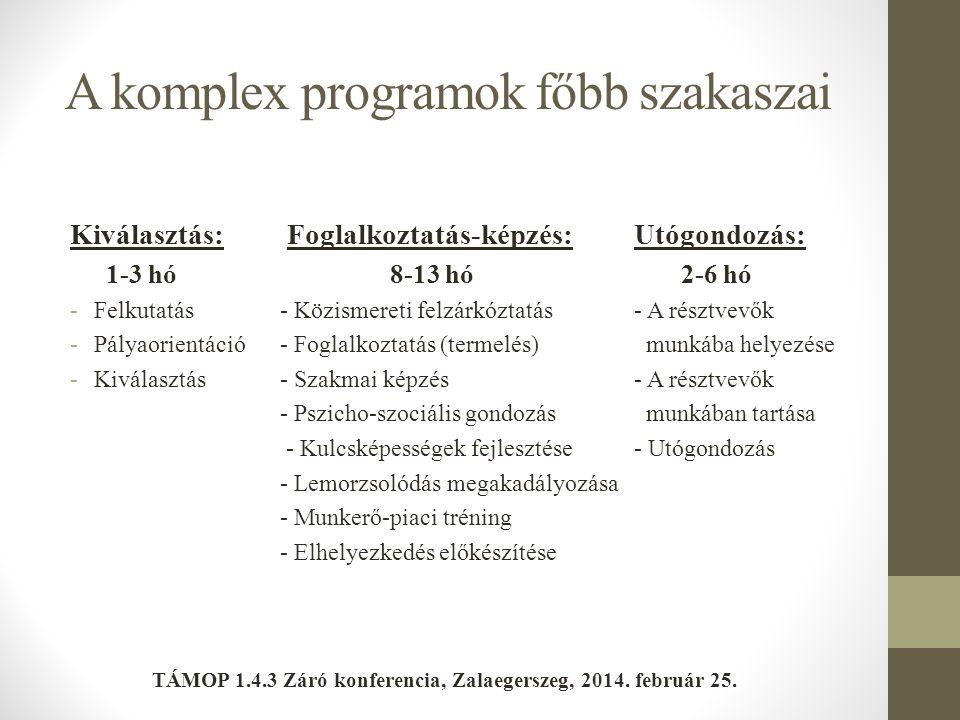 A komplex programok főbb szakaszai Kiválasztás: Foglalkoztatás-képzés:Utógondozás: 1-3 hó 8-13 hó 2-6 hó -Felkutatás - Közismereti felzárkóztatás- A r