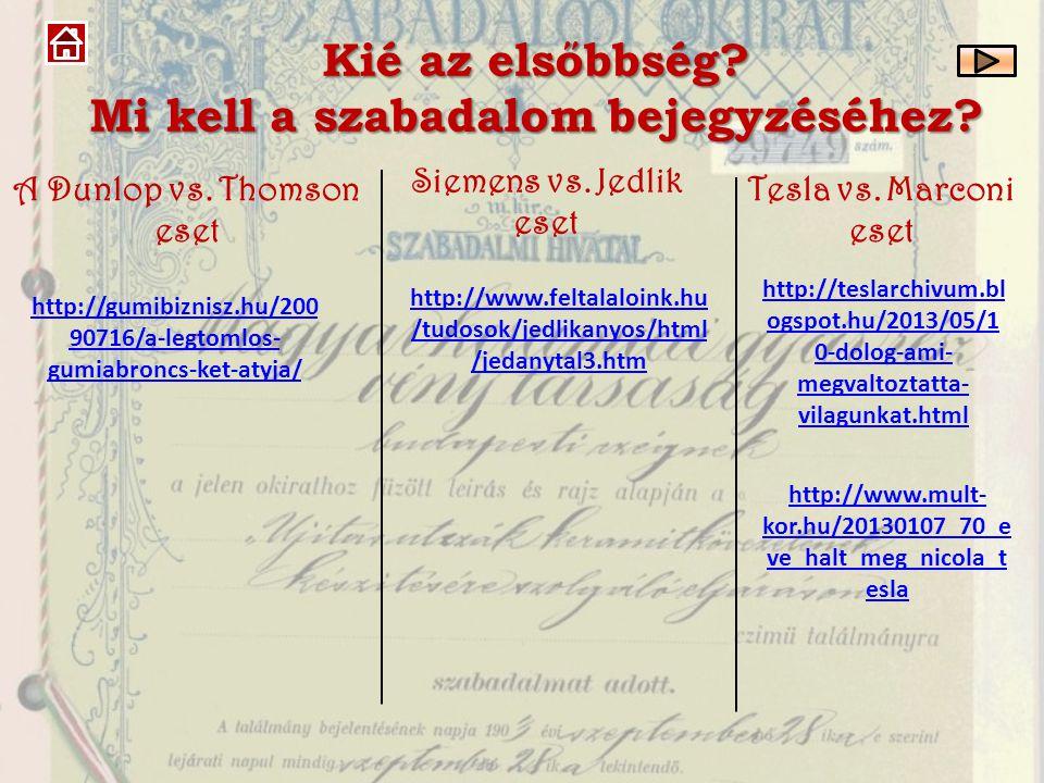 Kié az elsőbbség? Mi kell a szabadalom bejegyzéséhez? http://gumibiznisz.hu/200 90716/a-legtomlos- gumiabroncs-ket-atyja/ A Dunlop vs. Thomson eset ht