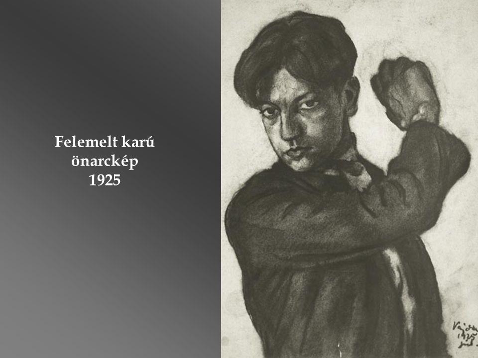 """A Vajda-életmű fő alkotása, a """"Felmutató ikonos önarckép (1936) címen ismert pasztell festmény."""