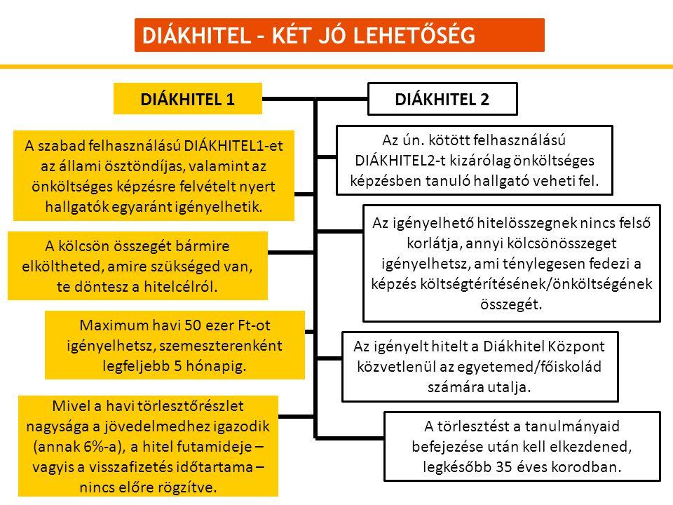 DIÁKHITEL – KÉT JÓ LEHETŐSÉG A szabad felhasználású DIÁKHITEL1-et az állami ösztöndíjas, valamint az önköltséges képzésre felvételt nyert hallgatók egyaránt igényelhetik.