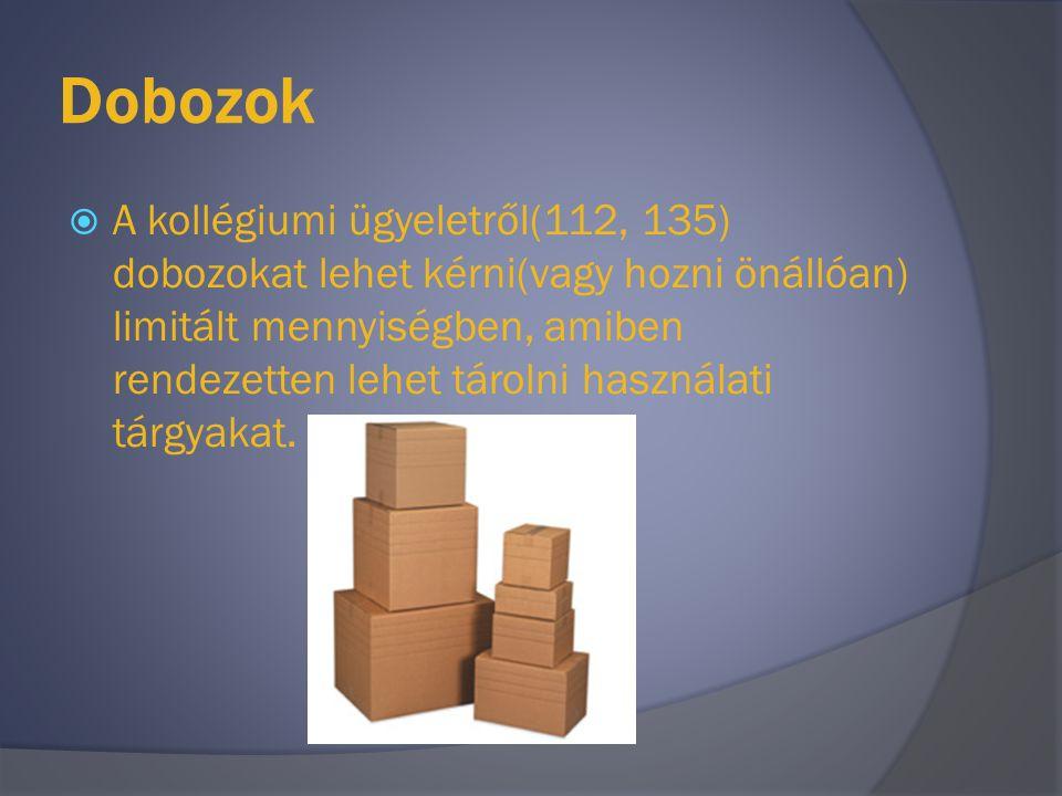 Dobozok  A kollégiumi ügyeletről(112, 135) dobozokat lehet kérni(vagy hozni önállóan) limitált mennyiségben, amiben rendezetten lehet tárolni használ