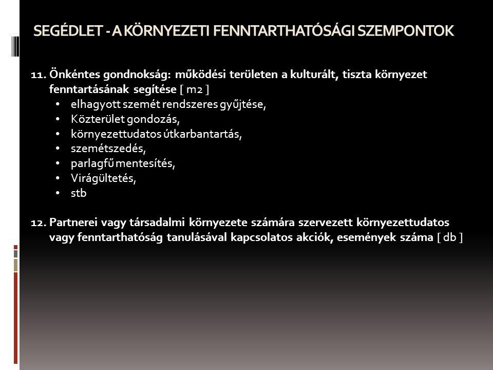SEGÉDLET - A KÖRNYEZETI FENNTARTHATÓSÁGI SZEMPONTOK 11.Önkéntes gondnokság: működési területen a kulturált, tiszta környezet fenntartásának segítése [