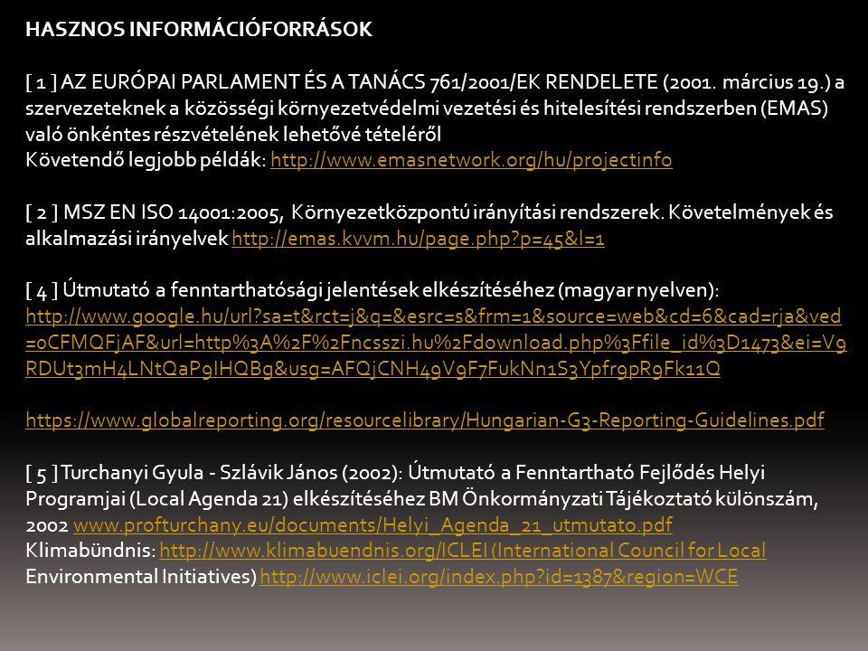 HASZNOS INFORMÁCIÓFORRÁSOK [ 1 ] AZ EURÓPAI PARLAMENT ÉS A TANÁCS 761/2001/EK RENDELETE (2001. március 19.) a szervezeteknek a közösségi környezetvéde