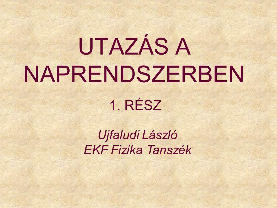 UTAZÁS A NAPRENDSZERBEN 1. RÉSZ Ujfaludi László EKF Fizika Tanszék