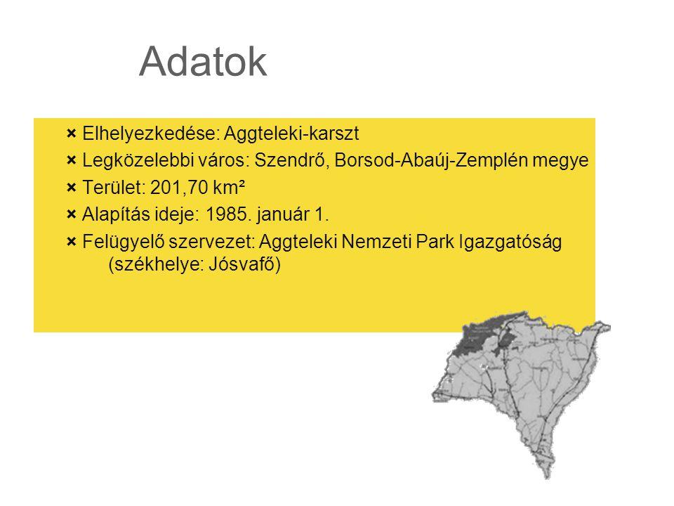 Adatok × Elhelyezkedése: Aggteleki-karszt × Legközelebbi város: Szendrő, Borsod-Abaúj-Zemplén megye × Terület: 201,70 km² × Alapítás ideje: 1985. janu