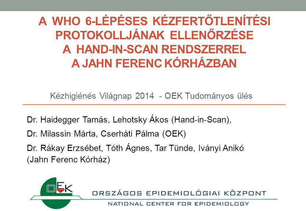 A WHO 6-LÉPÉSES KÉZFERTŐTLENÍTÉSI PROTOKOLLJÁNAK ELLENŐRZÉSE A HAND-IN-SCAN RENDSZERREL A JAHN FERENC KÓRHÁZBAN Kézhigiénés Világnap 2014 - OEK Tudományos ülés Dr.