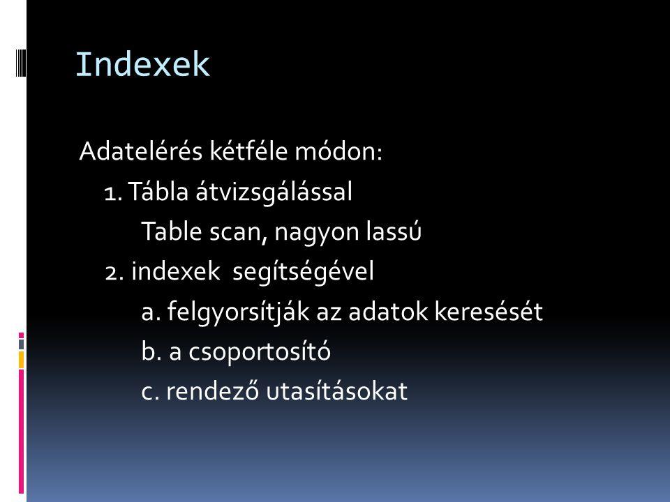 Indexek Adatelérés kétféle módon: 1. Tábla átvizsgálással Table scan, nagyon lassú 2. indexek segítségével a. felgyorsítják az adatok keresését b. a c