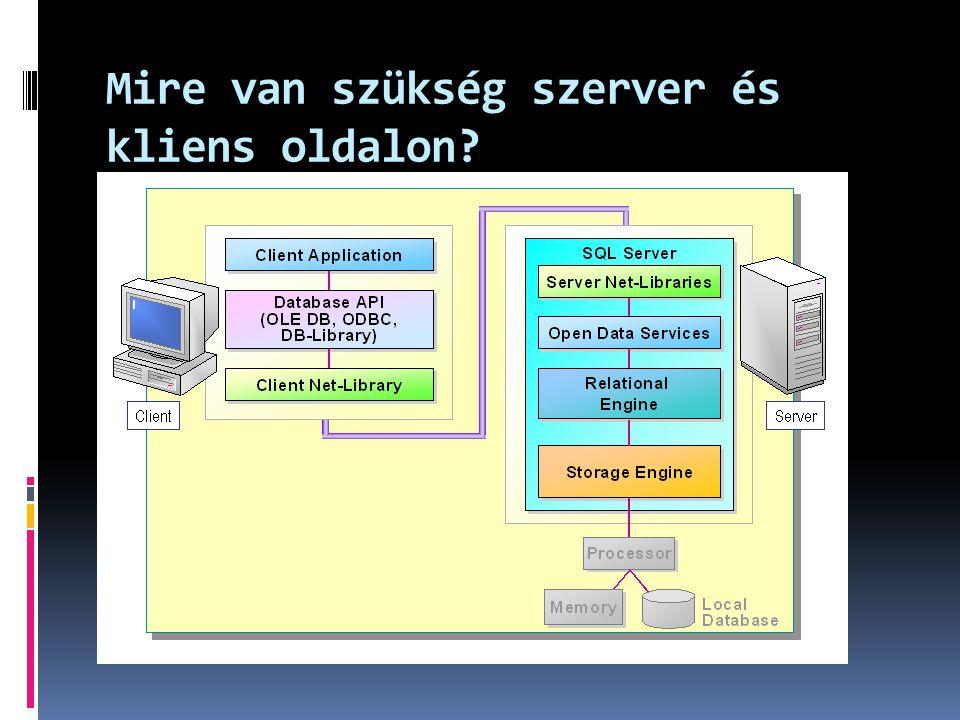 Adatbázis változtatása ALTER DATABASE Sample MODIFY FILE ( NAME = SampleLog , SIZE = 15MB) GO ALTER DATABASE Sample ADD FILE (NAME = SampleData2 , FILENAME= c:\Program Files\ Microsoft SQL Server\MSSQL\Data\Sample2.ndf , SIZE=15MB, MAXSIZE=20MB)