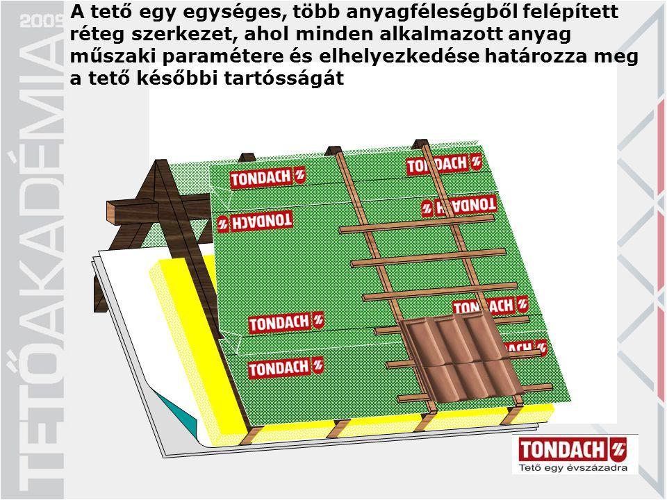 A tető egy egységes, több anyagféleségből felépített réteg szerkezet, ahol minden alkalmazott anyag műszaki paramétere és elhelyezkedése határozza meg