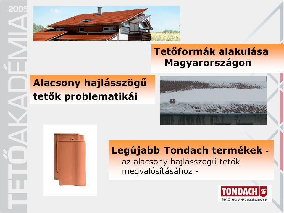 Alacsony hajlásszögű tetők problematikái Legújabb Tondach termékek - az alacsony hajlásszögű tetők megvalósításához - Tetőformák alakulása Magyarorszá