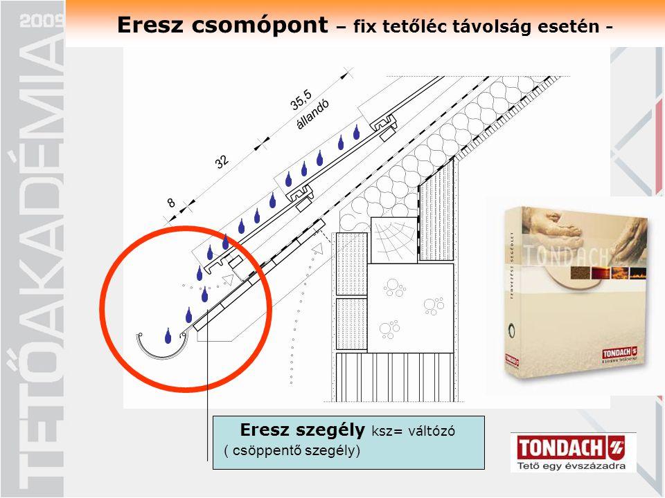 Eresz csomópont – fix tetőléc távolság esetén - Eresz szegély ksz= váltózó ( csöppentő szegély)