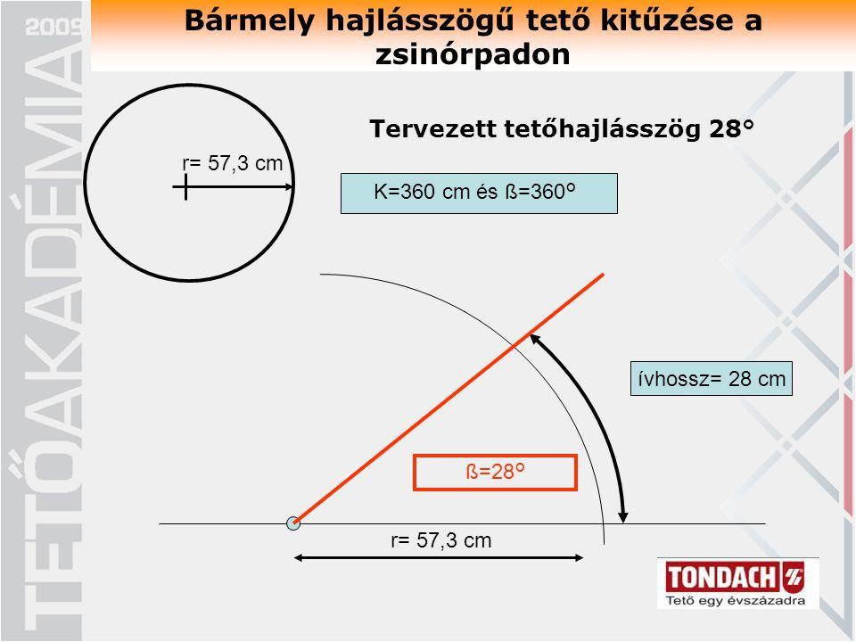 Bármely hajlásszögű tető kitűzése a zsinórpadon K=360 cm és ß=360° ívhossz= 28 cm ß=28° r= 57,3 cm Tervezett tetőhajlásszög 28° r= 57,3 cm