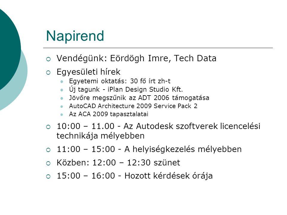 Napirend  Vendégünk: Eördögh Imre, Tech Data  Egyesületi hírek Egyetemi oktatás: 30 fő írt zh-t Új tagunk - iPlan Design Studio Kft.