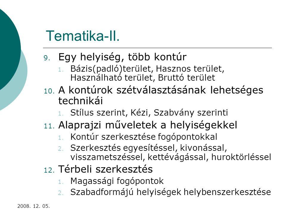 2008.12. 05. Tematika-III. 13. A helyiségek adatkészlete 14.