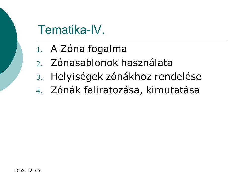 2008. 12. 05. Tematika-IV. 1. A Zóna fogalma 2.
