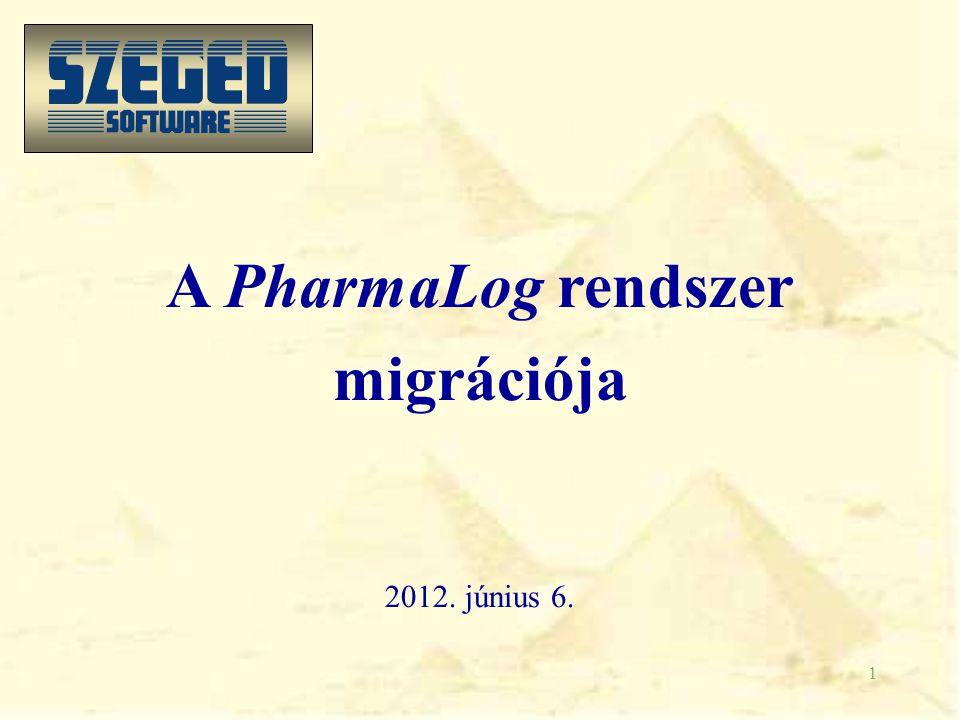 1 A PharmaLog rendszer migrációja 2012. június 6.
