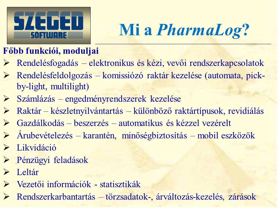 Mi a PharmaLog? A gyógyszer-nagykereskedelmi logisztika minden elemére részletesen kidolgozott, gazdag funkcionalitású, ügyfélre szabott rendszer.