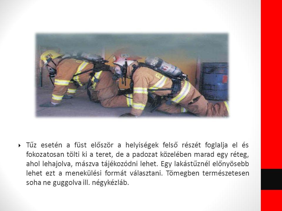  Tűz esetén a füst először a helyiségek felső részét foglalja el és fokozatosan tölti ki a teret, de a padozat közelében marad egy réteg, ahol lehajo