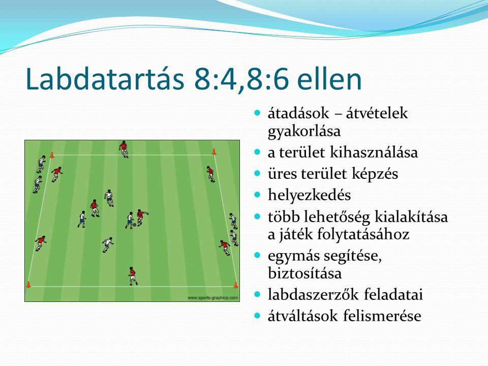 Labdatartás 8:4,8:6 ellen átadások – átvételek gyakorlása a terület kihasználása üres terület képzés helyezkedés több lehetőség kialakítása a játék folytatásához egymás segítése, biztosítása labdaszerzők feladatai átváltások felismerése