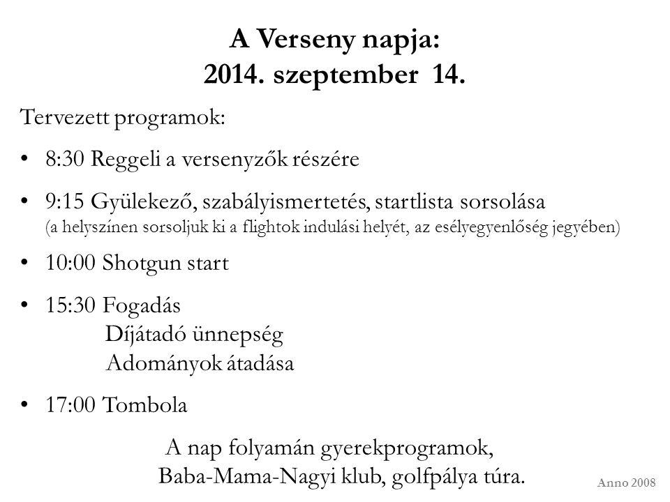 A Verseny napja: 2014. szeptember 14. Tervezett programok: 8:30 Reggeli a versenyzők részére 9:15 Gyülekező, szabályismertetés, startlista sorsolása (