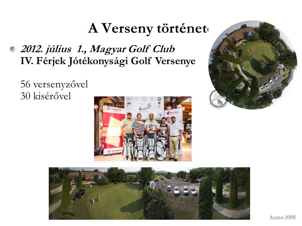 A Verseny története 2012. július 1., Magyar Golf Club IV. Férjek Jótékonysági Golf Versenye 56 versenyzővel 30 kisérővel Anno 2008