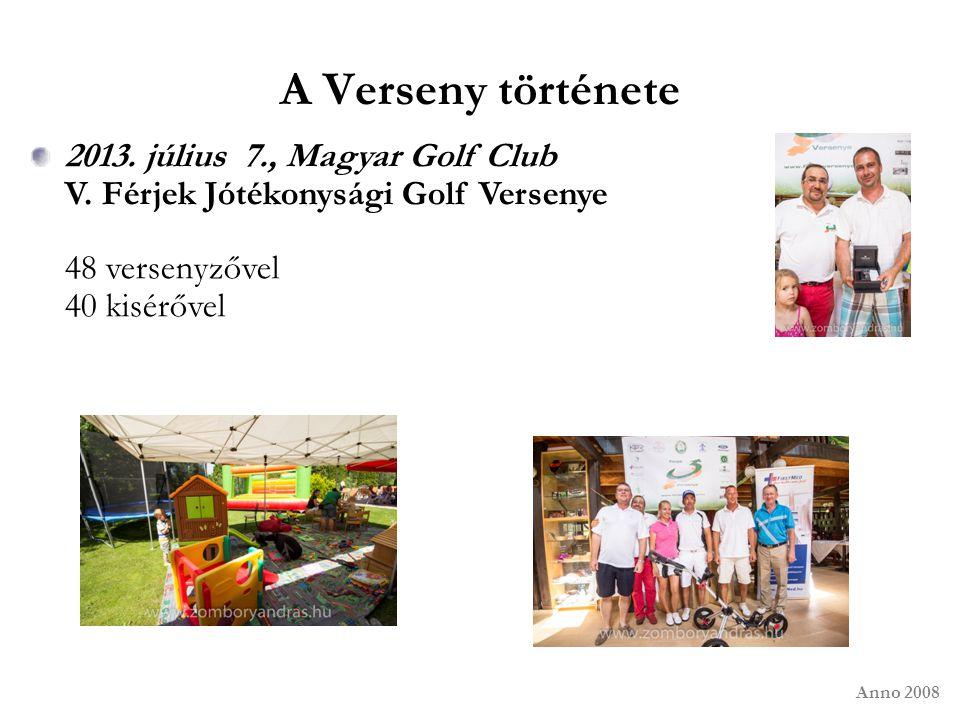 A Verseny története Anno 2008 2013. július 7., Magyar Golf Club V. Férjek Jótékonysági Golf Versenye 48 versenyzővel 40 kisérővel