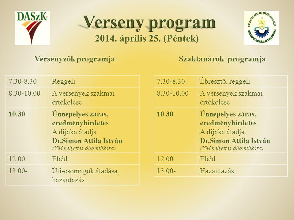 2014. április 25. (Péntek) 7.30-8.30Reggeli 8.30-10.00A versenyek szakmai értékelése 10.30Ünnepélyes zárás, eredményhirdetés A díjaka átadja: Dr.Simon