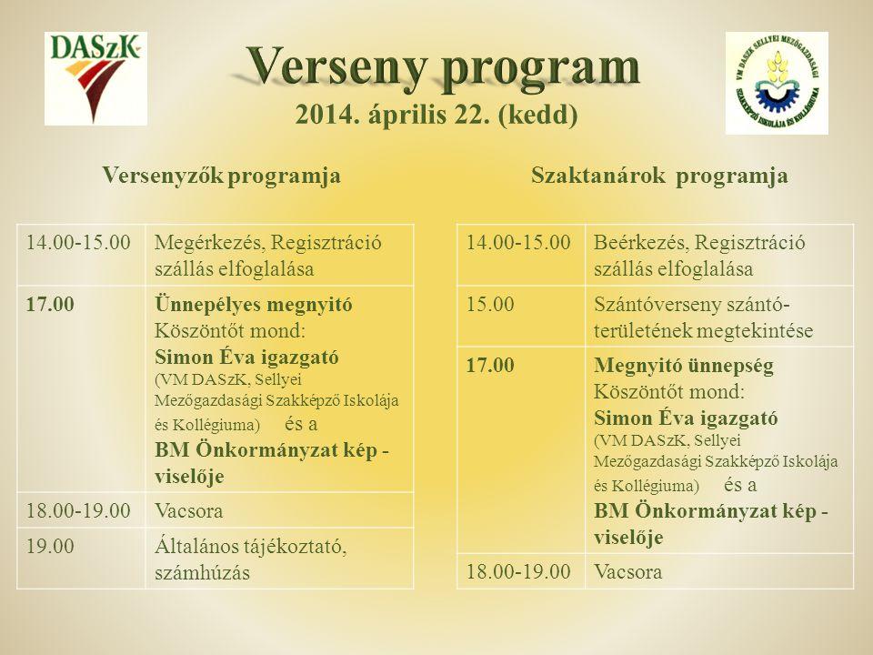 2014. április 22. (kedd) 14.00-15.00Megérkezés, Regisztráció szállás elfoglalása 17.00Ünnepélyes megnyitó Köszöntőt mond: Simon Éva igazgató (VM DASzK