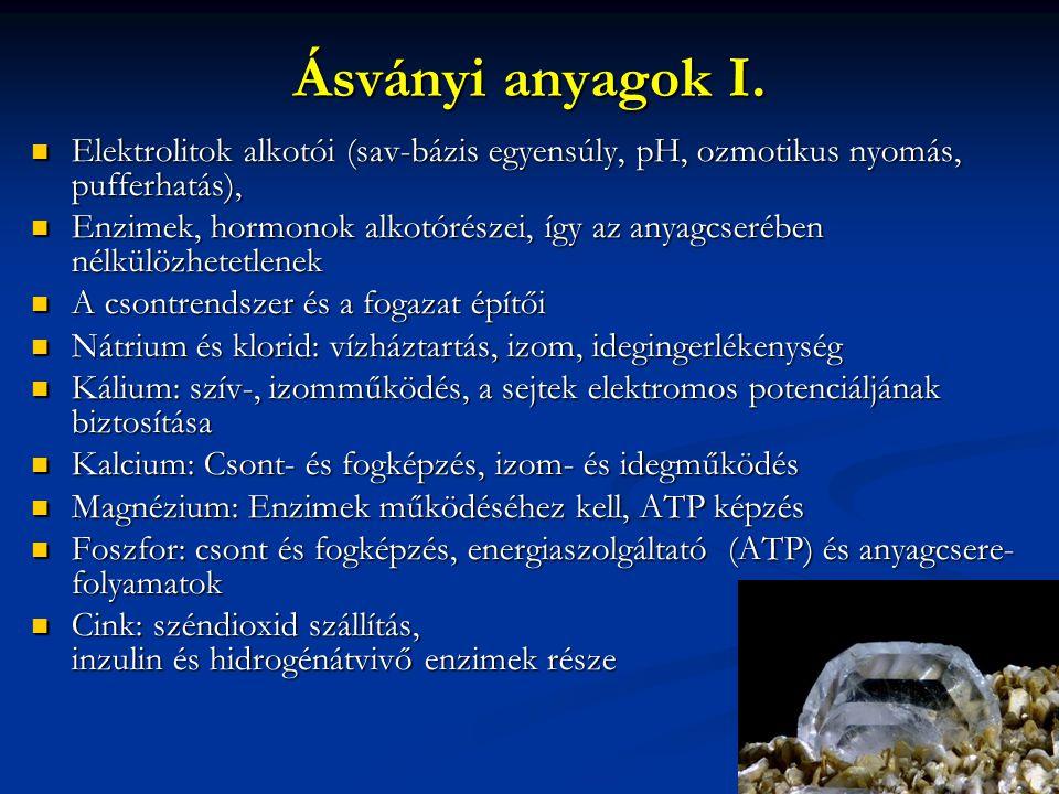 Ásványi anyagok II.