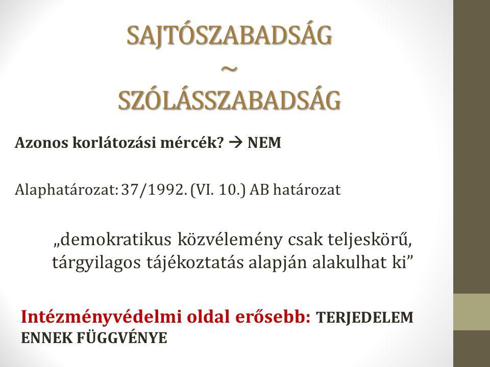 """SAJTÓSZABADSÁG ~ SZÓLÁSSZABADSÁG Azonos korlátozási mércék?  NEM Alaphatározat: 37/1992. (VI. 10.) AB határozat """"demokratikus közvélemény csak teljes"""