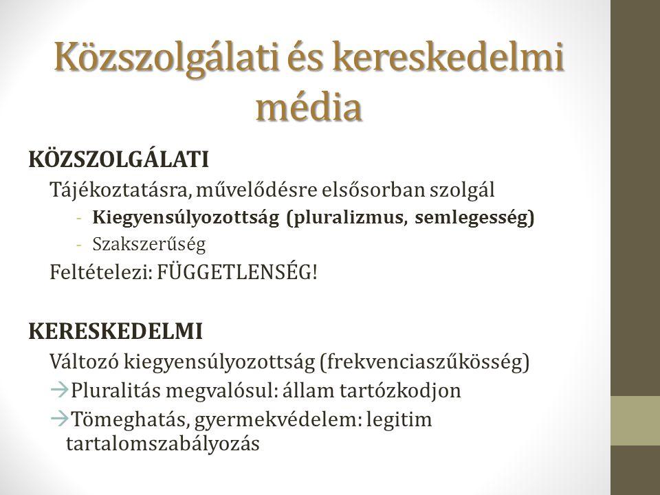 Közszolgálati és kereskedelmi média KÖZSZOLGÁLATI Tájékoztatásra, művelődésre elsősorban szolgál -Kiegyensúlyozottság (pluralizmus, semlegesség) -Szak
