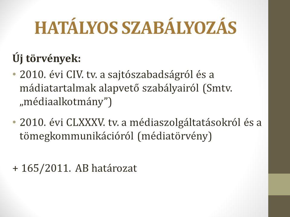 """HATÁLYOS SZABÁLYOZÁS Új törvények: 2010. évi CIV. tv. a sajtószabadságról és a mádiatartalmak alapvető szabályairól (Smtv. """"médiaalkotmány"""") 2010. évi"""