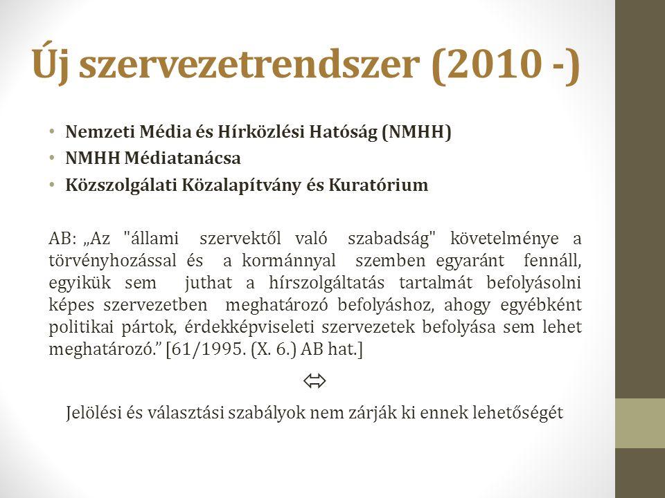 """Új szervezetrendszer (2010 -) Nemzeti Média és Hírközlési Hatóság (NMHH) NMHH Médiatanácsa Közszolgálati Közalapítvány és Kuratórium AB: """"Az"""