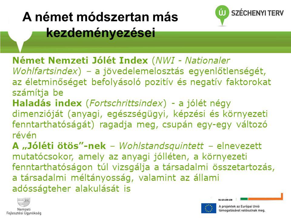 Német Nemzeti Jólét Index (NWI - Nationaler Wohlfartsindex) – a jövedelemelosztás egyenlőtlenségét, az életminőséget befolyásoló pozitív és negatív fa