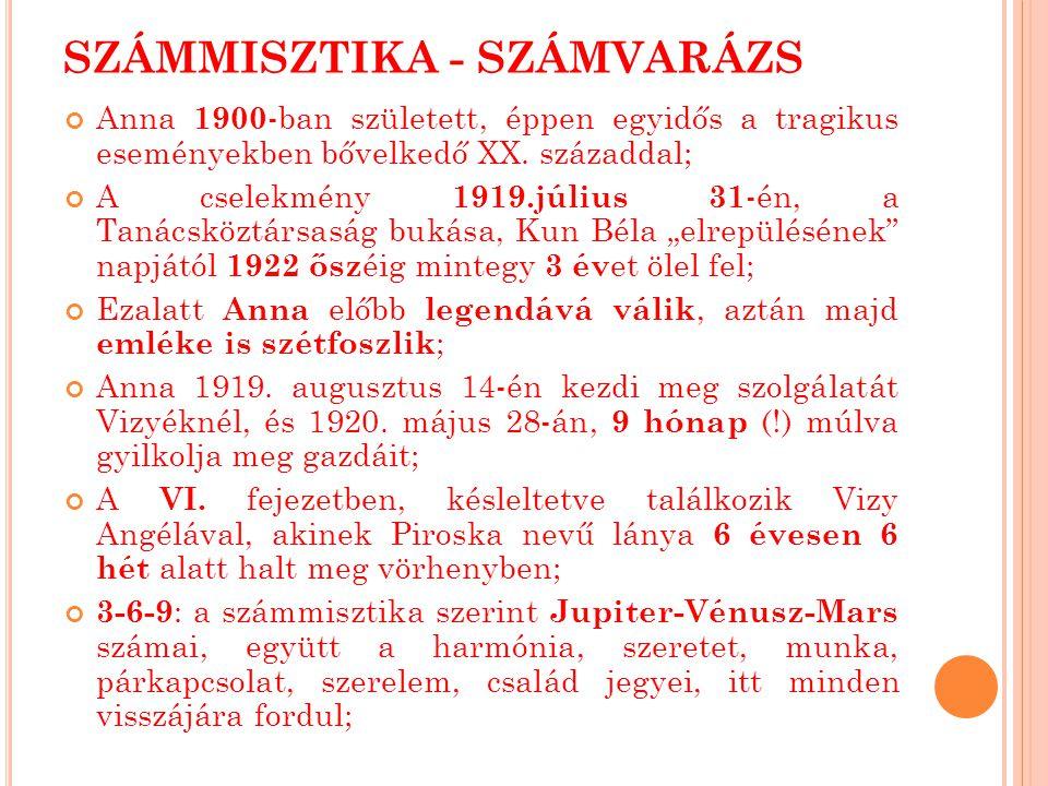 SZÁMMISZTIKA - SZÁMVARÁZS Anna 1900 -ban született, éppen egyidős a tragikus eseményekben bővelkedő XX.