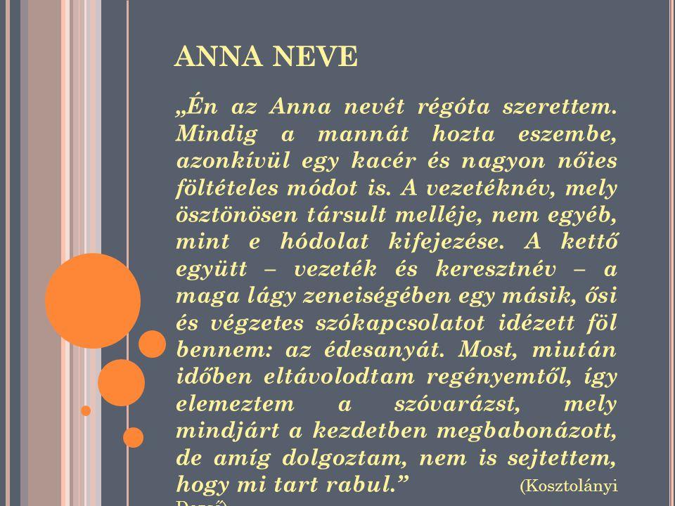 """ANNA NEVE """"Én az Anna nevét régóta szerettem."""