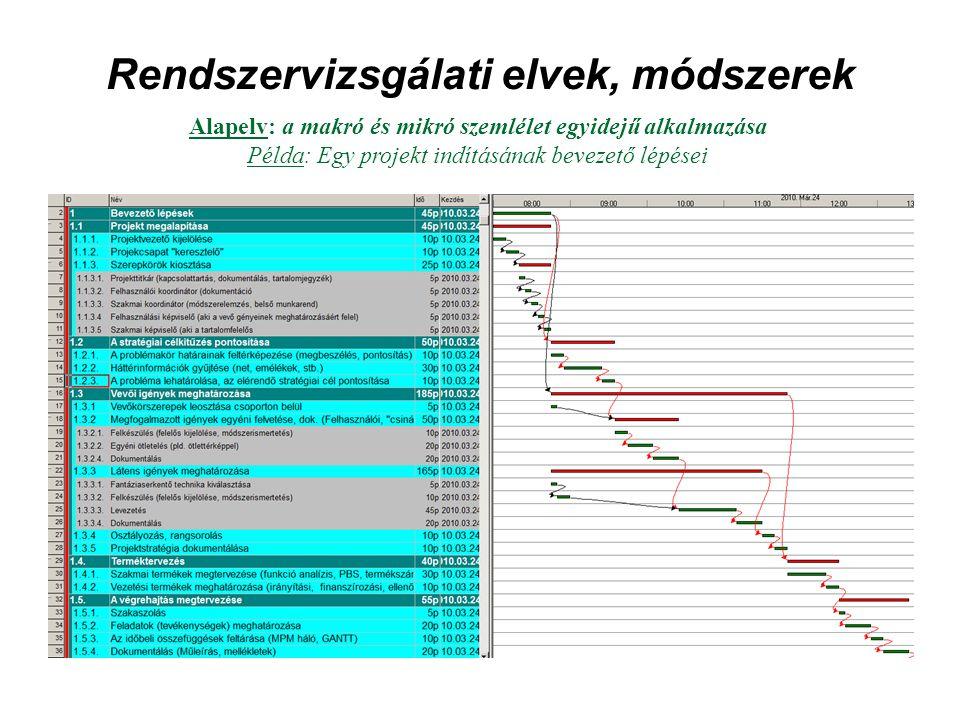 Rendszervizsgálati elvek, módszerek Alapelv: a makró és mikró szemlélet egyidejű alkalmazása Példa: Egy projekt indításának bevezető lépései