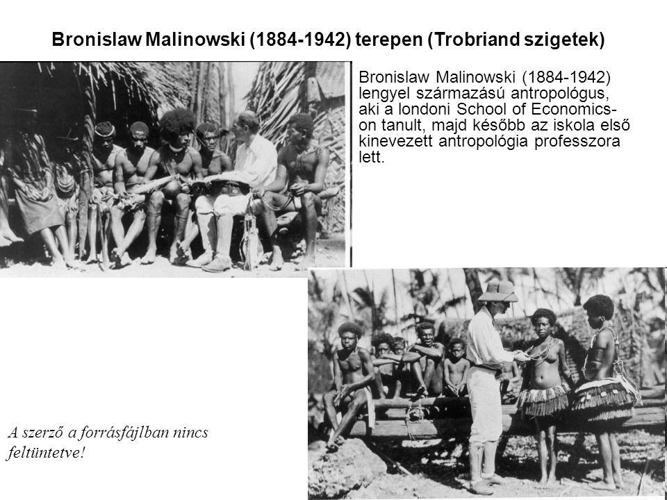Bronislaw Malinowski (1884-1942) terepen (Trobriand szigetek) Bronislaw Malinowski (1884-1942) lengyel származású antropológus, aki a londoni School o