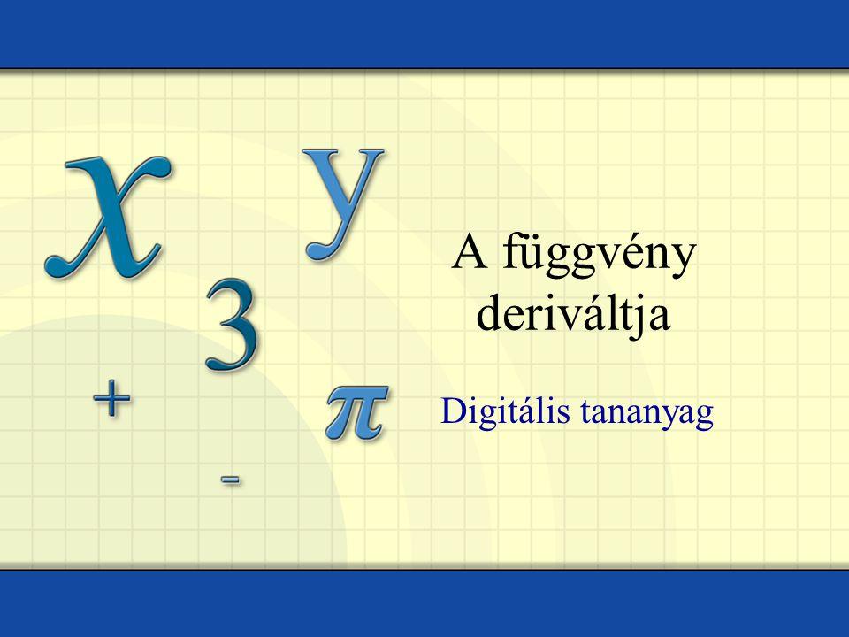 Tóth István – Műszaki Iskola Ada Példa Keressük meg az f(x)=x 2 +2x-1 függvény deriváltját az x 0 =1 pontban.