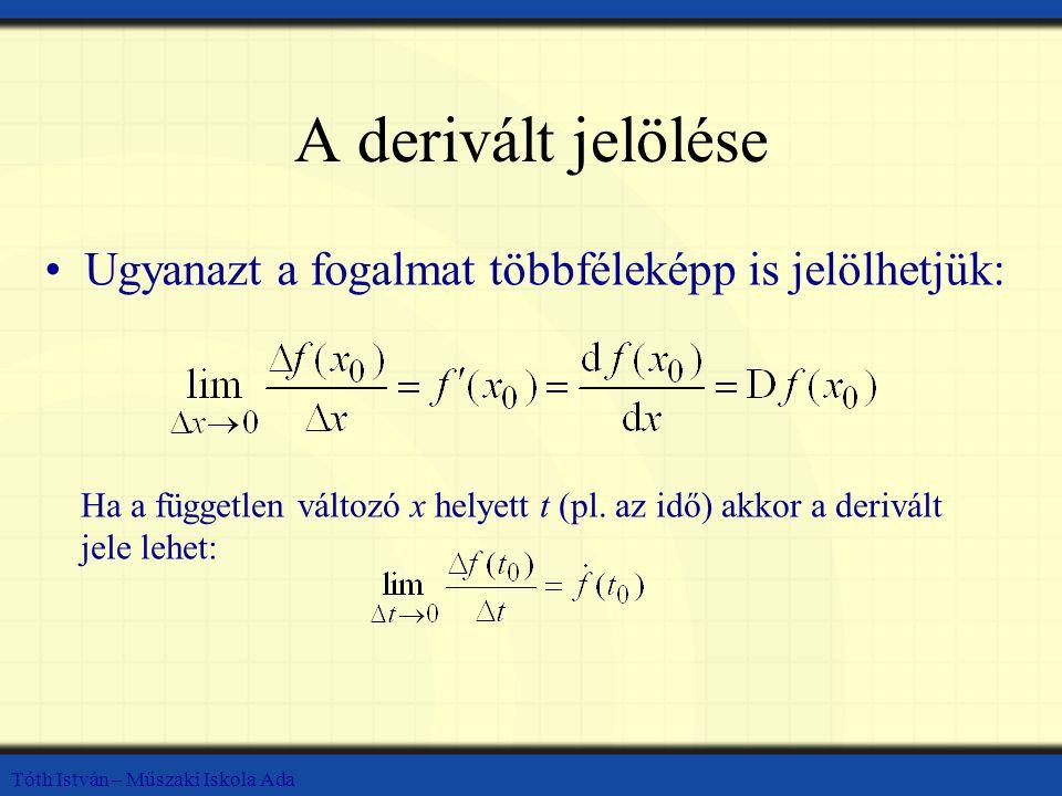 Tóth István – Műszaki Iskola Ada A derivált jelölése Ugyanazt a fogalmat többféleképp is jelölhetjük: Ha a független változó x helyett t (pl. az idő)