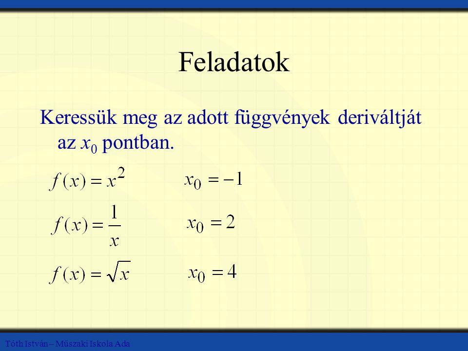 Tóth István – Műszaki Iskola Ada Feladatok Keressük meg az adott függvények deriváltját az x 0 pontban.