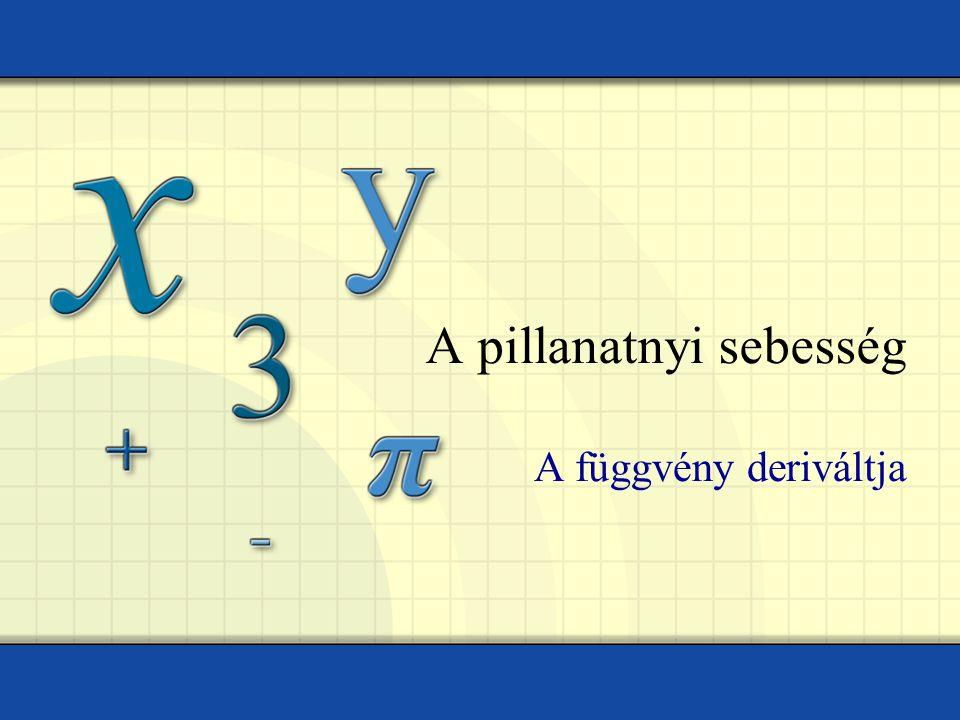 A pillanatnyi sebesség A függvény deriváltja